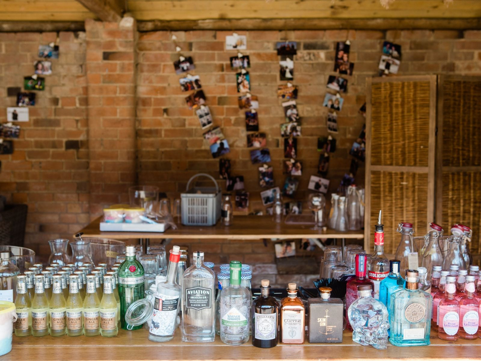 Bar and personal touches at Boho Bride Alice's wedding
