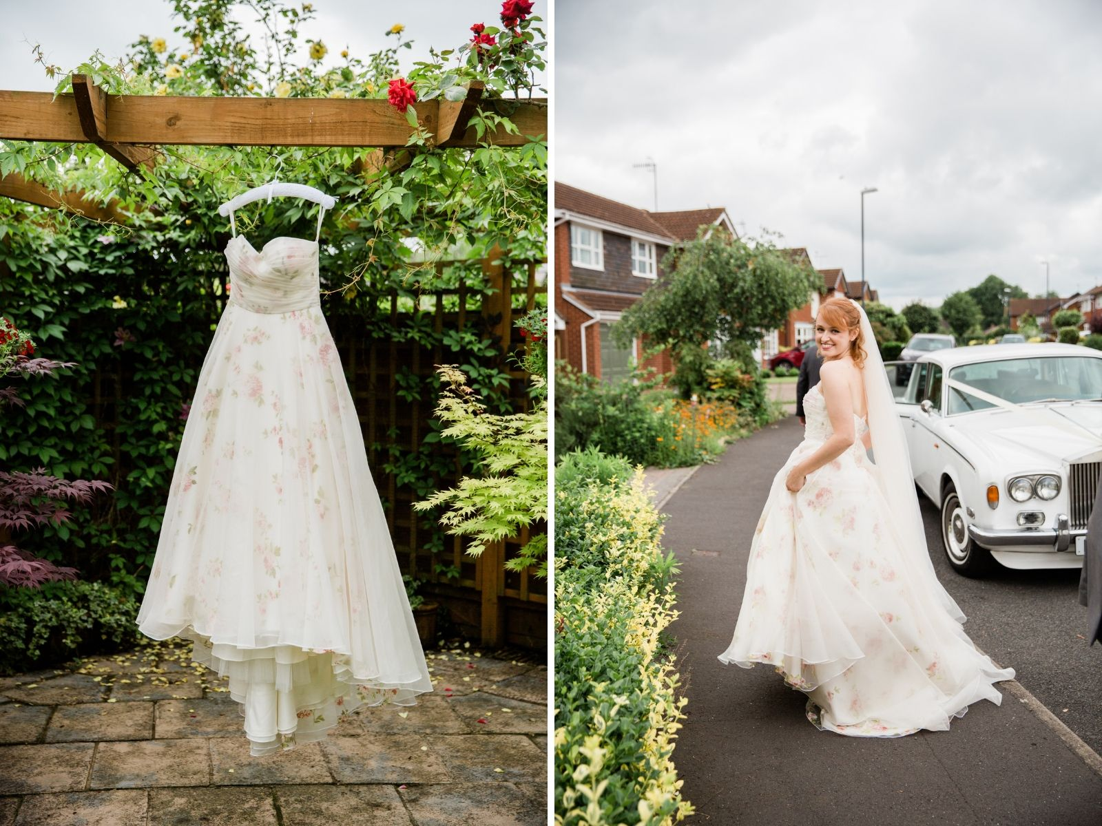 Real Bride Alice in rose-covered wedding dress