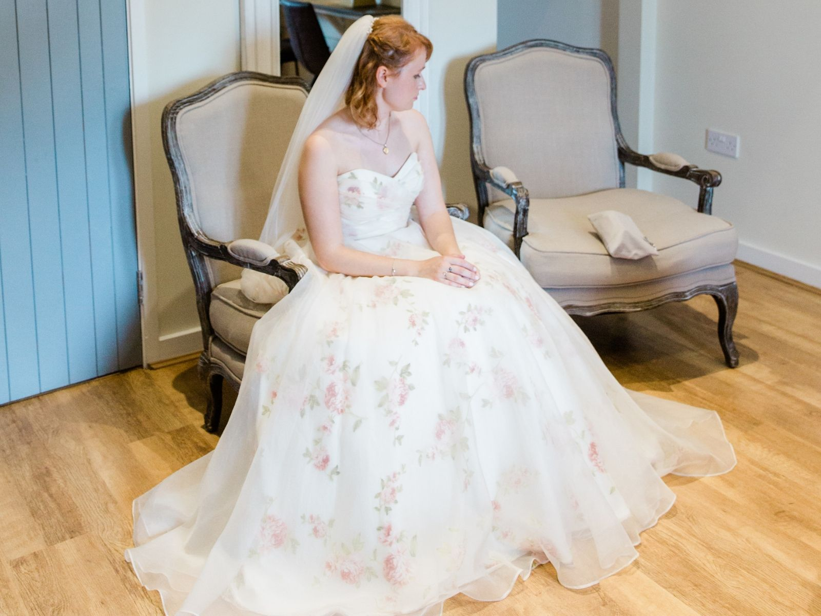 Rose-covered wedding dress by Loulou Bridal
